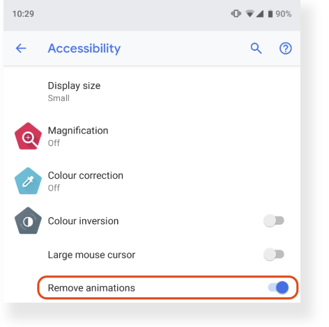 Chrome 74 beta: reducing unwanted motion, private class
